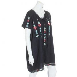 Short-Black-Embroidery-Kaftan-Dress