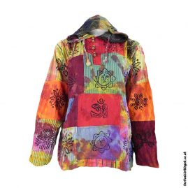 Multicoloured-Patchwork-Hooded-Tie-Dye-Festival-Top