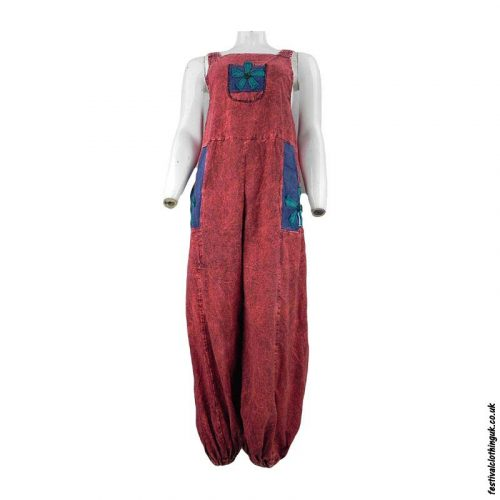 Festival-Dungarees-with-Embroidery-Design-Red