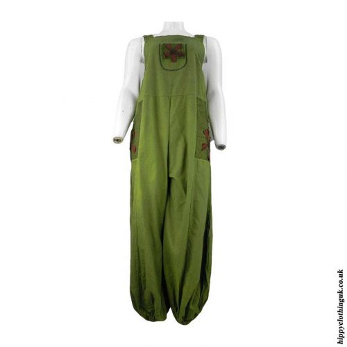 Green-Dungarees-with-Embroidery-Design