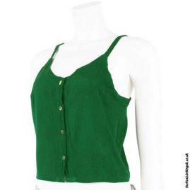 Rayon Button Festival Crop Top Green