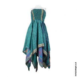 Teal-Pixie-Hem-Recycled-Sari-Dress