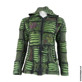 Embroidery-Ripped-Effect-Hooded-Festival-Jacket-Green