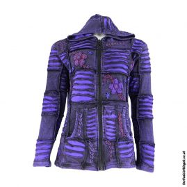 Embroidery-Ripped-Effect-Hooded-Festival-Jacket-Purple