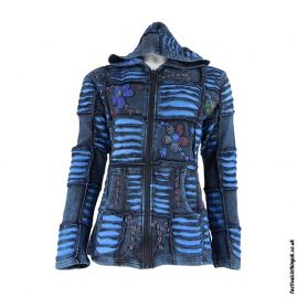 Embroidery-Ripped-Effect-Hooded-Festival-Jacket-Turquoise