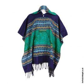 Festival-Hooded-Poncho-Blue