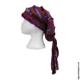 Purple-Recycled-Silk-Hat-with-Wool-Tassels