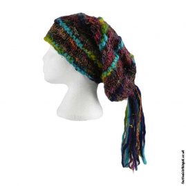 Recycled-Silk-Festival-Hat-with-Wool-Tassels-Turquoise